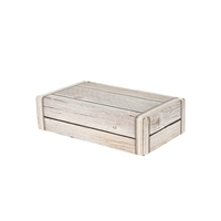 Gift Box 2 Bottle Front Opening Card Box - Wooden Effect