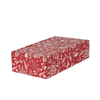 Gift Box Double Bottle Front Opening Carton - Red & White Christmas Pattern
