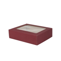 Gift Box Three Bottle Windowed Gift Box - Burgundy