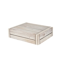 Gift Box 3 Bottle Front Opening Card Box - Wooden Effect