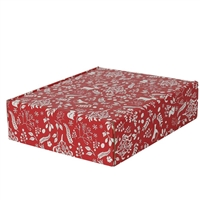 Gift Box Three Bottle Front Opening Carton - Red & White Christmas Pattern