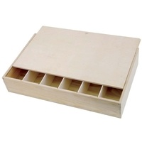 Flat six Bottle Pine Wooden Wine Box with Sliding Lid by Gift Box