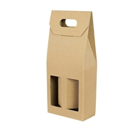 Gift Box 2 Window Bottle Card Box - Kraft Effect
