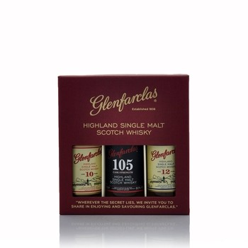 Glenfarclas 10, 12 year old Single Malt and 105 Cask Strenght Miniature Gift Set  - Click to view a larger image