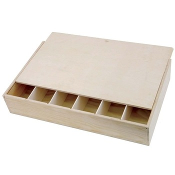 Gift Box Flat six Bottle Pine Wooden Wine Box with Sliding Lid  - Click to view a larger image